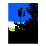 Forest silhouette with blue sky