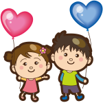 Boy and girl with heart balloons