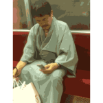 Traditional Japanese with cell phone