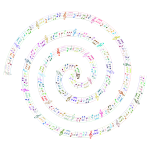 Spiraling Musical Notes Prismatic No BG