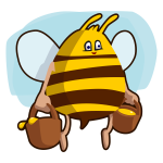 Cartoon bee carrying honey