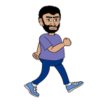 Bearded walking man