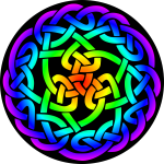 Celtic knot 3 (rainbow colours, black background)