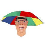 Man with umbrella hat