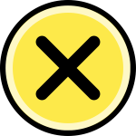 Button - cancel/no, round, yellow