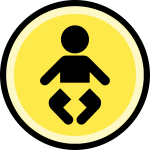Button - difficulty - baby, very easy (black on yellow)