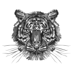 Geometric Tiger Head Grayscale