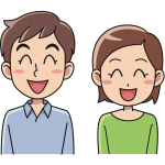 Laughing cartoon couple