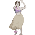 Old Style Hula Dancer - Colour