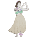 Old Style Hula Dancer 2 - Colour