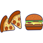 Pizza and burger