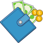 Wallet with cash and coins
