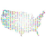 United States Map Grid Design Prismatic 3