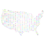 United States Map Grid Design II Prismatic