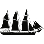 Sail Ship Silhouette Stencil Art