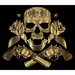Flowers And Firearms Skull Line Art Gold