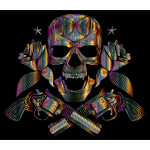 Flowers And Firearms Skull Line Art Chromatic
