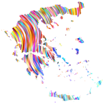 Greece Outline Map Striped Pattern