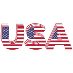 USA 3D Flag Typography With Stroke