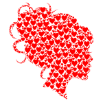 Female Head Profile Silhouette Hearts