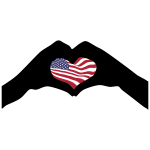 Heart Hands Silhouette America Flag