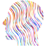 Head silhouette with line pattern (#3)