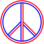 Red White Blue Peace Sign