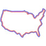 Red White Blue America Map