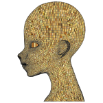Boy Wireframe Head Gold
