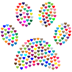 Paw Print Hearts Prismatic