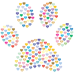 Paw Print Hearts Prismatic 2