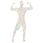 Bodybuilder Flexing Fitness Icons Polyprismatic