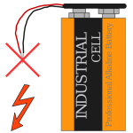 9 V battery with clip and short circuit