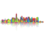 New York Cityscape Silhouette Polyprismatic With Reflection