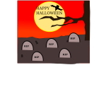 Happy Halloween in a cemetery