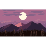 Parallax Mountain At Dusk Pixel Art
