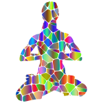 Female Yoga Pose 20 Silhouette Tiles Polyprismatic