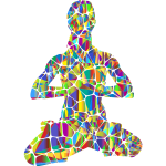Female Yoga Pose 20 Silhouette Tiles And Triangles Polyprismatic