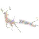 Deer And Mountain Lion Silhouette Waves Polyprismatic No BG