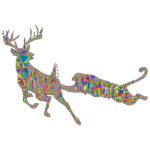 Deer And Mountain Lion Silhouette Mesh Polyprismatic