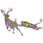 Deer And Mountain Lion Silhouette Mesh Chromatic