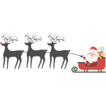 Happy Santa, Sleigh and Reindeer
