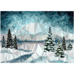 Idyllic Winter Landscape Low Poly