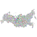 Russia Map Typography Prismatic