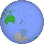 Orthographic image of the world, centred on NZ