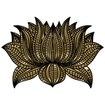 Decorative Lotus Line Art By AngelaRoseMS2 Gold