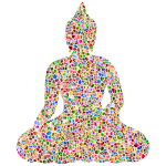 Sitting Buddha Silhouette Tiles Polychromatic