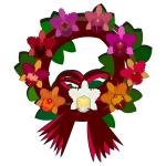Wreath with colorful flowers