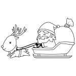 Santa With Reindeer Line Art