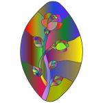 Rose Stained Glass Line Art Polyprismatic